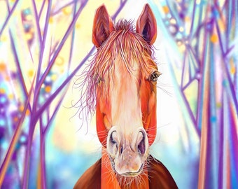 Horse Art Print of Horse in Forest at Dawn - Unframed art print of original horse painting by Kate Green