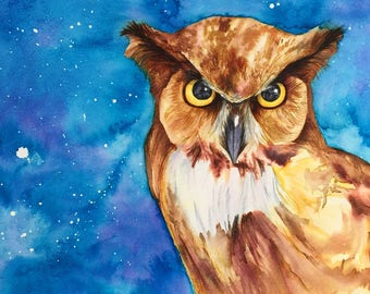 Night Owl Print, Owl Art, Great Horned Owl Painting, Owl Gift - unframed print of original watercolour owl painting by Kate Green