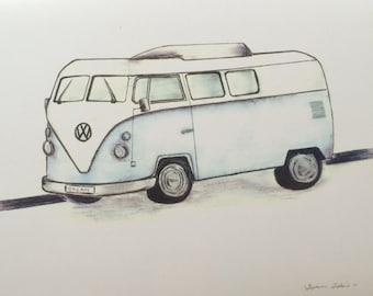 Light Blue VW Bus Watercolor Print