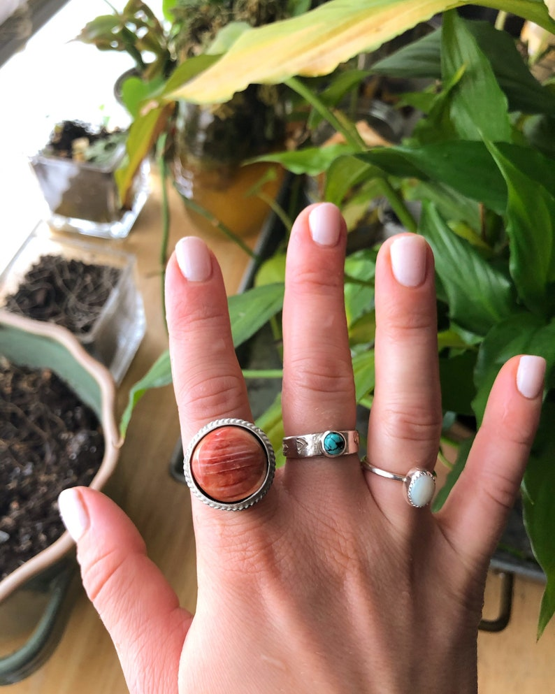 Western Spiny Oyster Shell Custom Ring Size Boho Turquoise Jewelry Travelers Collection Indie Fashion Sterling Silver Ring