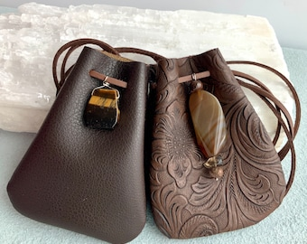 Dark blue tribal coin purse with brown faux leather vegan zipped pouch
