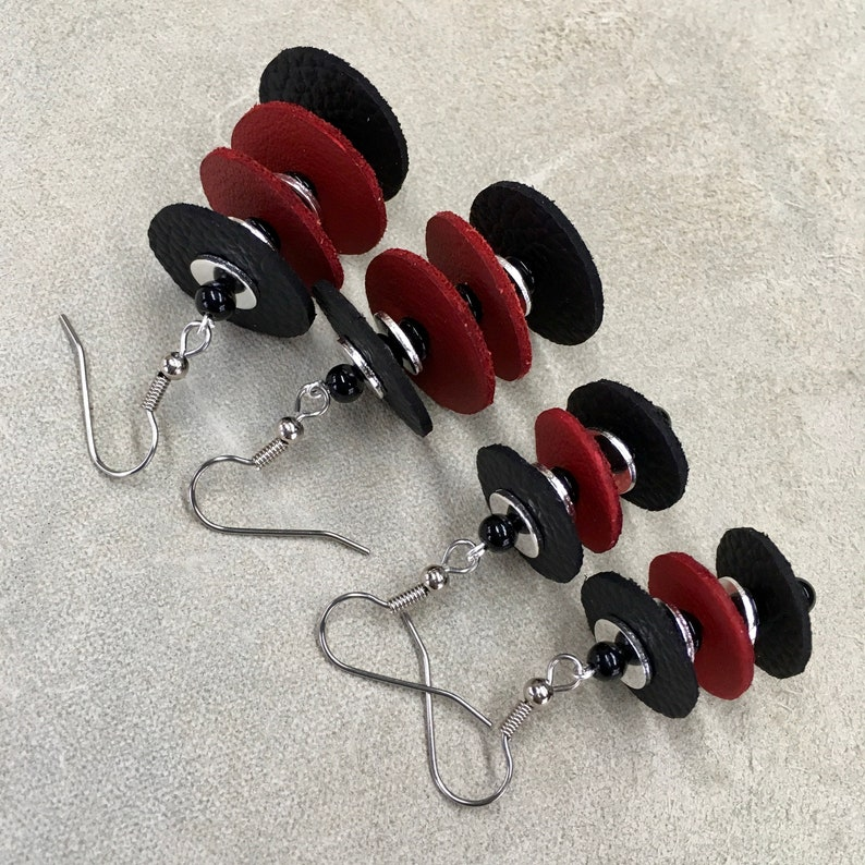 Wakanda Inspired Leather Earrings Modern Style Black and Red Italian Leather Lightweight they float like Feathers Gift for Her Fun to wear