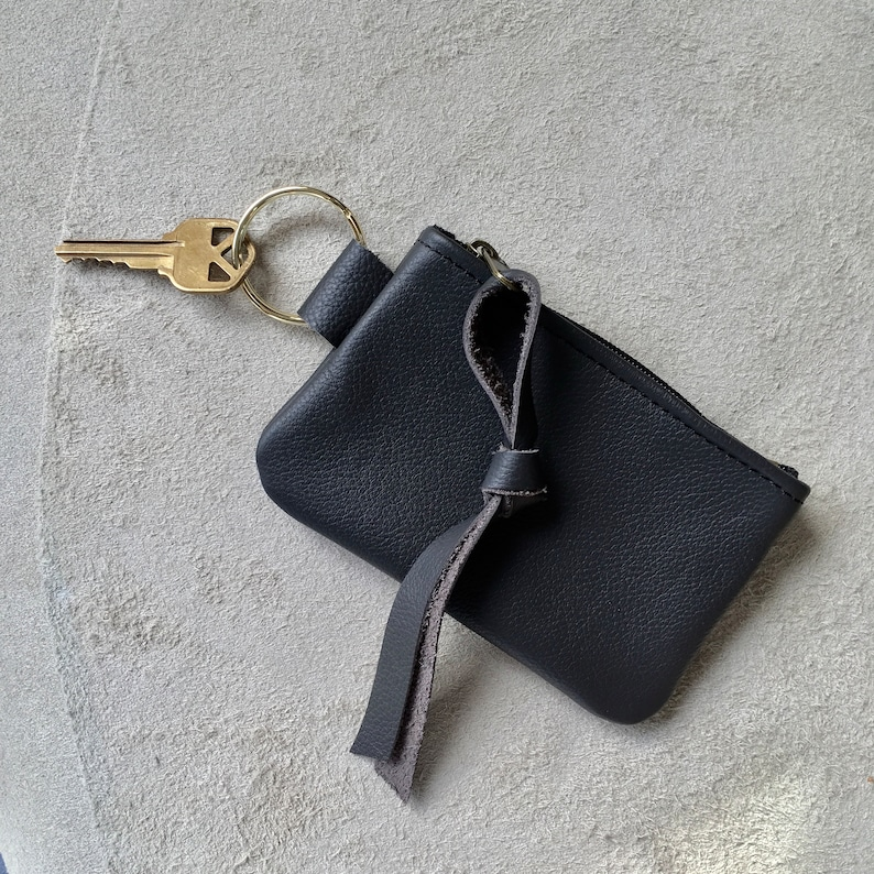 Leather Key Case Keyring Key Pouch Change Purse Credit Card Case Wallet Tiny Clutch Accessory Earbud Case Everyday Bag Gift for Him or Her