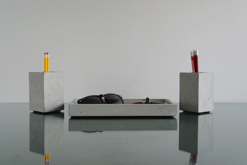 Concreti accessori da scrivania penna tazza vassoio di etsy