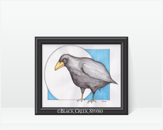 Crowraven Art Print Edgar Allen Poe Inspired Black Bird Etsy