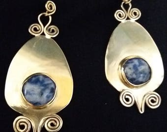 Spoted blue stone earrings