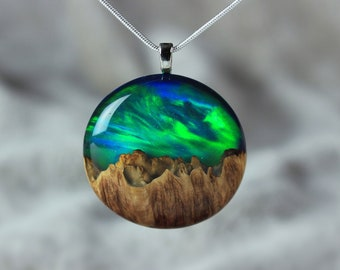 Aurora borealis opal necklace, Wood and resin 5th anniversary necklace gift, Special birthday gift for her