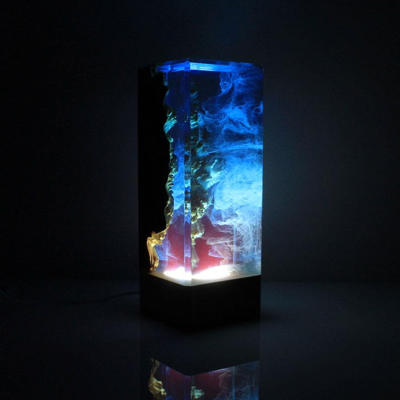 Resin And Wood Decor Ambient Night Light Resin Table Decor Etsy