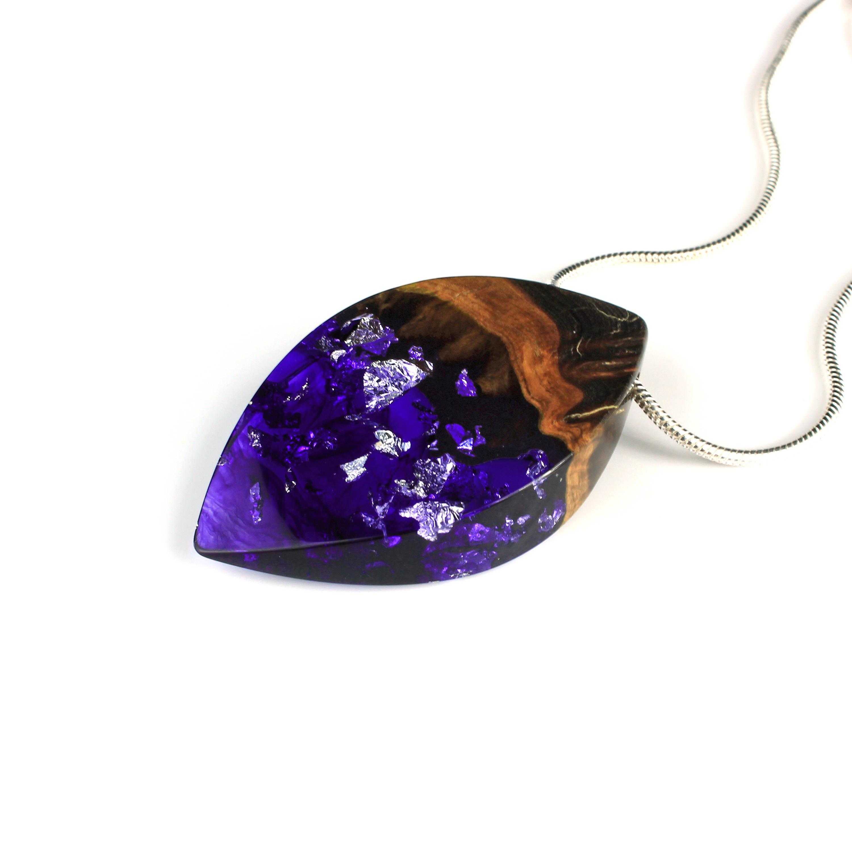 Deep Purple Necklace Silver Leaf Pendant Birthday Gift Eye