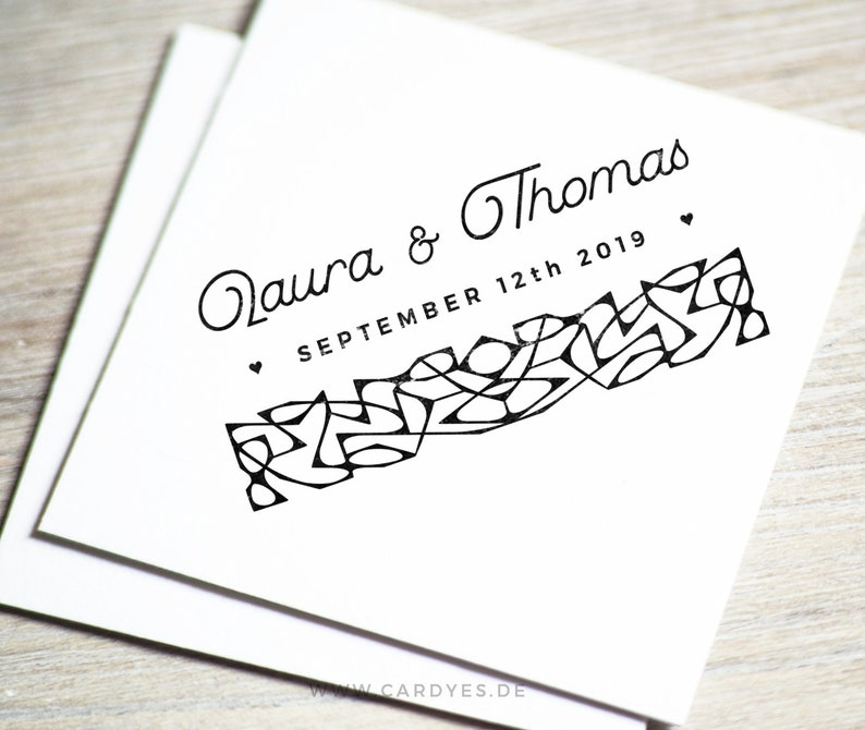 personalized Wedding stamp with lace pattern