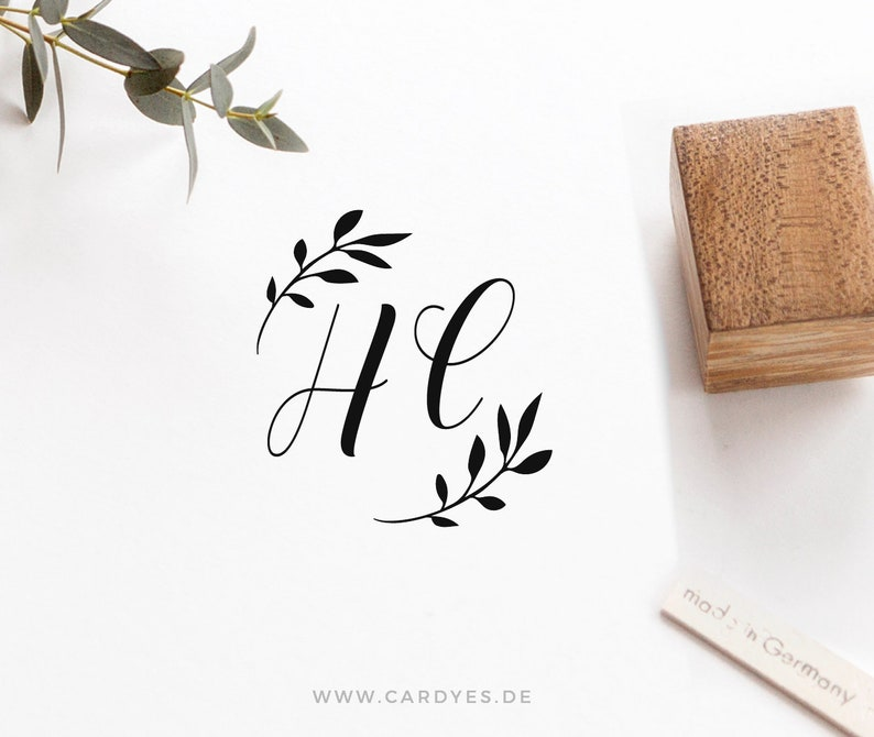 Wedding stamp with monogram personalized wooden stamp deluxe