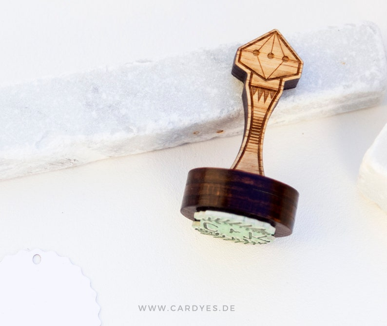 Wedding rubber stamp with calligraphy initials
