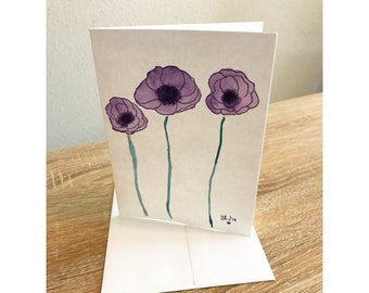Original anemone flower watercolor greeting card, anemone art, purple anemone, original flower art, spring greeting card