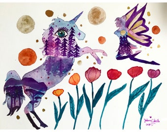 Do you believe in me original watercolor painting, unicorn watercolor painting, colorful unicorn art, watercolor fairy painting