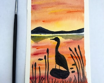 Original  watercolor  sunset bird painting , sunset  painting , watercolor sunset  painting, 4x6 painting , art decor , bird painting,