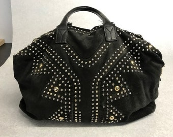 ba675d43b8 YSL Yves Saint Laurent Easy Rock Boston Stud Black Suede Top Handle Bag