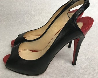 b32671c60c91 Christian Louboutin Black Leather Peep Toe Slingback Heels Size UK 5  EU 38