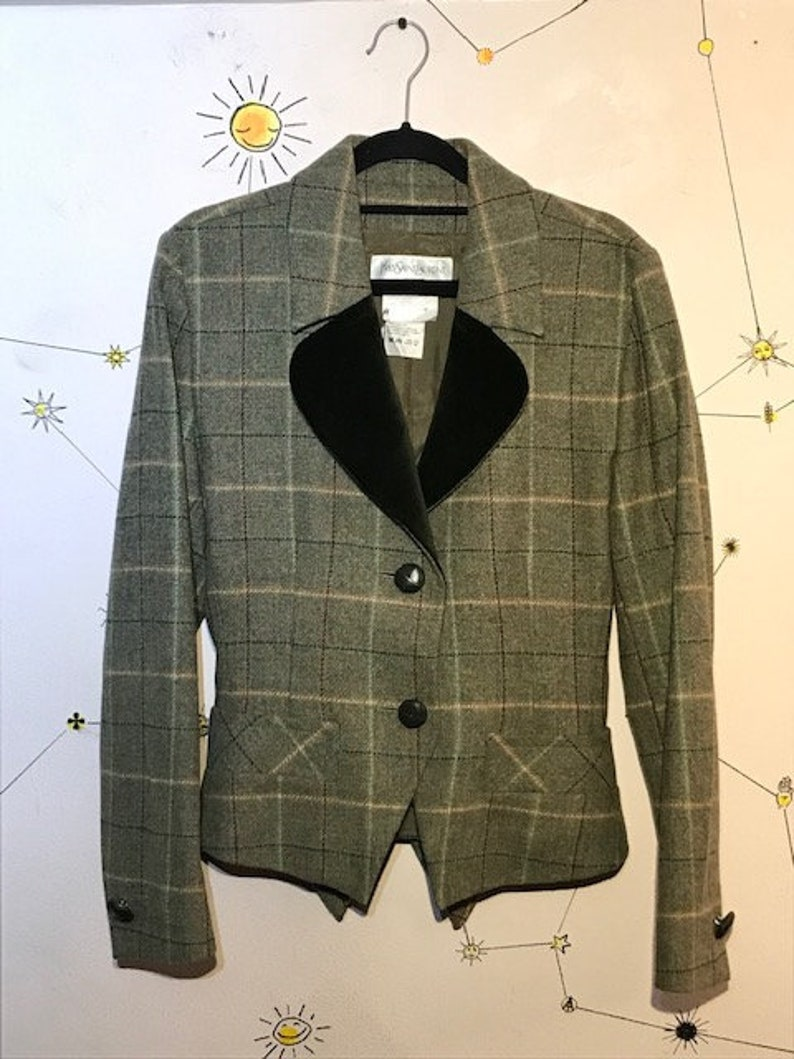 f552468b89e Yves Saint Laurent Women's Check Wool and Cashmere Jacket | Etsy