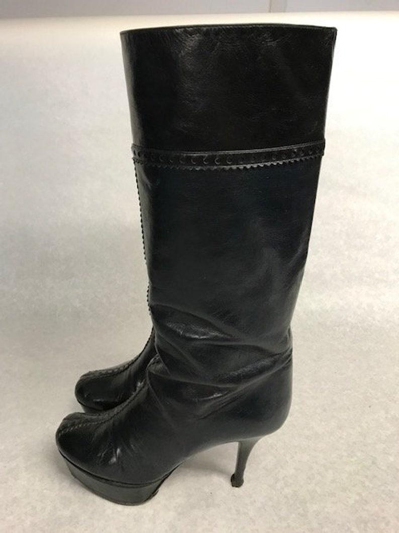 f0781d0cab33 YSL Black Leather Boots Size UK 3 EU 36