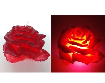 Valentines gifts Red Rose candle with led Carved candle Wedding Table Candle Decorative candle Red candles Unique candle  Gift idea