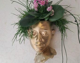 Face planter Wall head planter  Female vase pot Women head planter Wall art concrete sculpture Wall Hanging Flowers Planter
