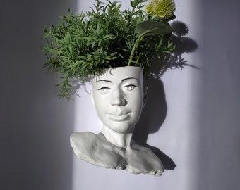 Hanging face planter Wall concrere Head planter Woman vase pot Succulents head planter Wall art concrete sculpture Wall  Flowers Planter