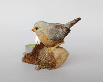 Tealight candle holder with bird Sparrow sculpture Christmas home decor Bird figurine Bird sitting on acorn Hand painted figurine