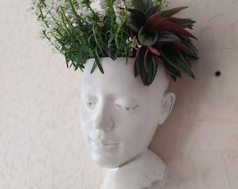 Wall head planter Face planter Female vase pot Succulents head planter Wall art concrete sculpture Wall Hanging Flowers Planter