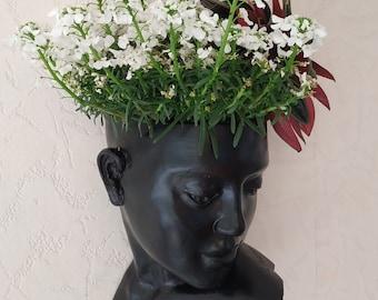 Face head planter Wall planter Woman vase pot Succulents head planter Wall art concrete sculpture Wall Hanging Flowers Planter