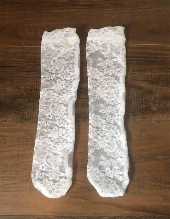 ausgewähltes Material neuer & gebrauchter designer neueste Kollektion Weiße Spitze hohe Kniestrümpfe, Baby-Kniestrümpfe, Mädchen Kniestrümpfe  hohe, weiße Kniestrümpfe Socken, Stulpen