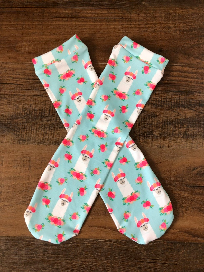 baby leg warmers baby knee highs toddler knee socks llama socks Floral llama knee high socks girls knee high socks