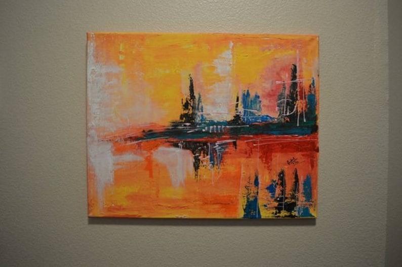 Acryl Leinwand Malen Farben Bunt Malerei Pop Art Geschenk Abstrakt Cit Landschaft Skyline Moderne Kunst Kunst Mischtechnik