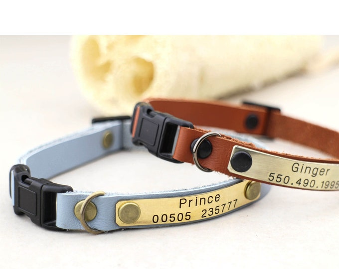 Cat collars - Kitten collar - Leather cat collar  - Breakaway cat collar - Personalised  cat collar - Kitten collar -  Leather collar - id