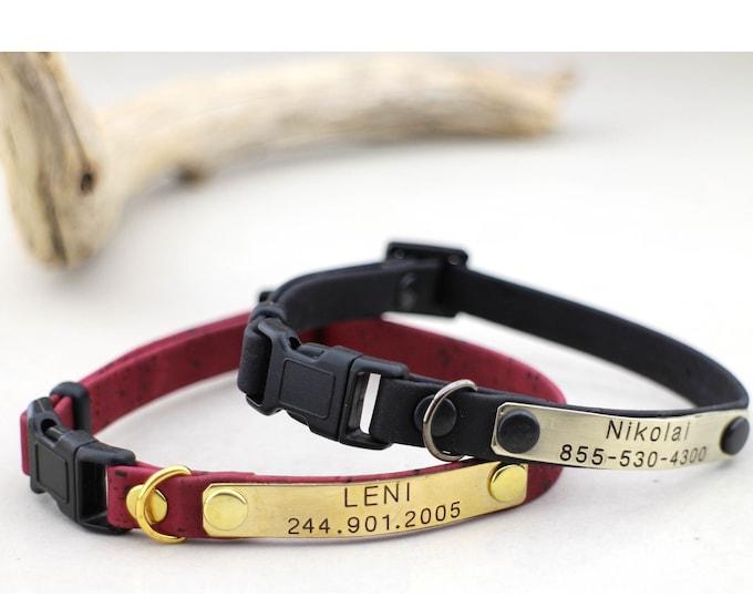 Cat collar - Kitten collar - Personalized cat collar - Breakaway collar - Soft cork collar - Kitten collars - Cat id  collar