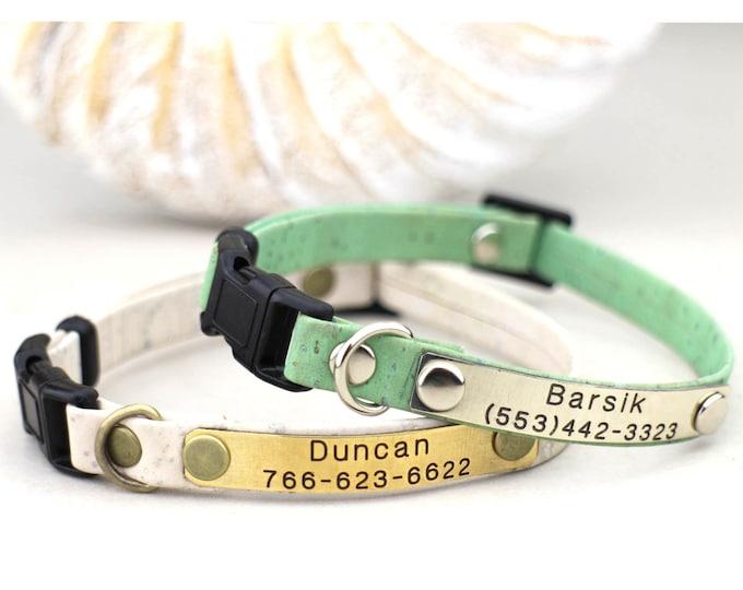 Cat collar - Cat cork collar - Cat collar personalized breakaway - Non-breakaway cat collar - Kitten collar breakaway - Cat collars