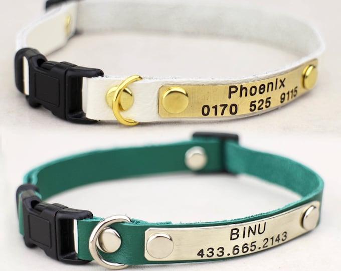 Breakaway cat collar - Cat collar - kitten id- Leather cat collar - Personalised collar - cat collar Breakaway - Cat id tag