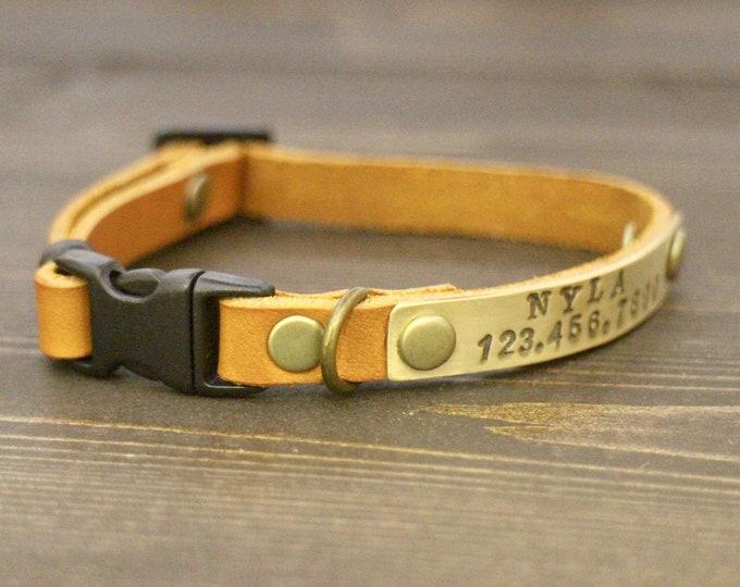 Cat collars - Cat leather collar - collar breakaway or non breakaway - Personalised cat collar - Kitten collar -  Leather collar - Id tag