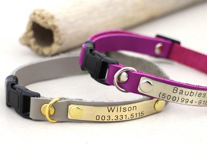 Cat collar - Leather cat collar - Breakawway cat collar - Leather collars - Personalised cat collar - Kitten collar - small dog collar