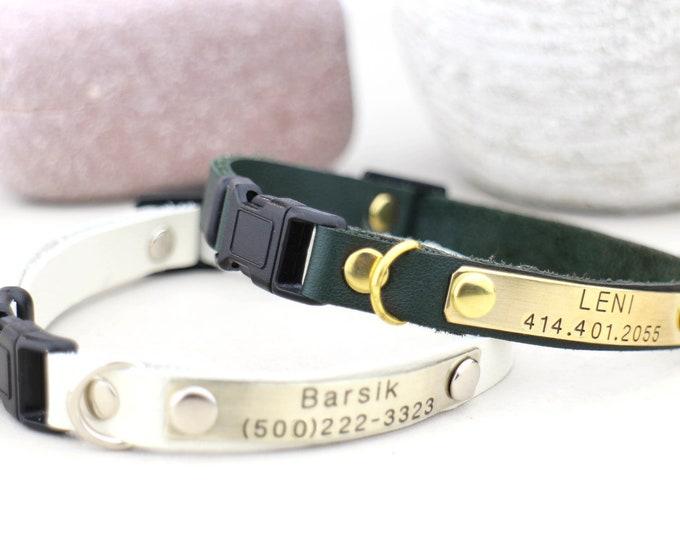 Personalised cat collar - Breakaway cat collar - Cat collar - kitten id- Leather cat collar  -  collar Breakaway - Cat id tag