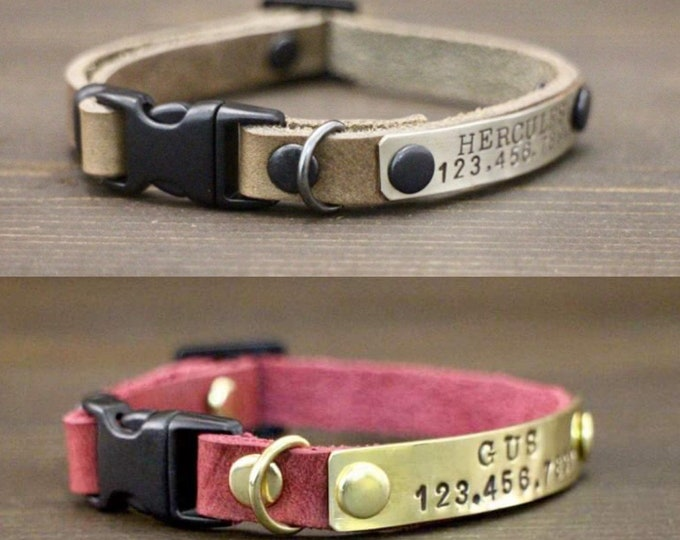 Breakaway cat collar - FREE ID TAG - Cat collar - Leather cat collar - Personalised collar - Cat accessories - Cat id tag