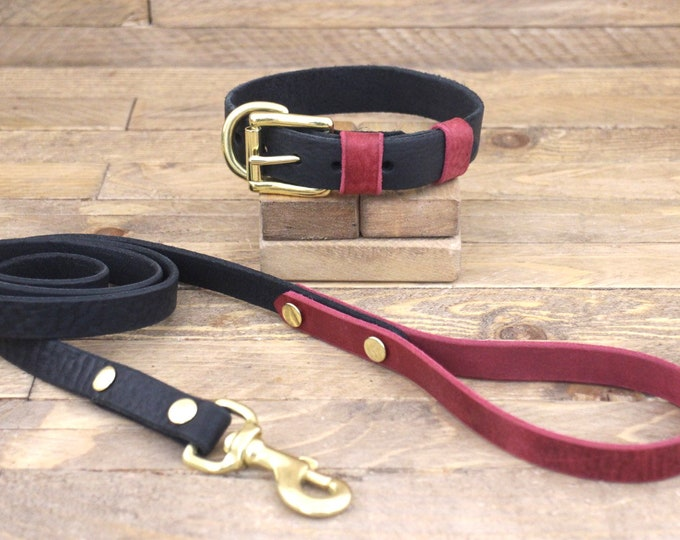 Leather leash, Set collar and leash, Dog collar, Wedding collar, Brass hardware, FREE ID TAG, Handmade raven collar, Burgundy,