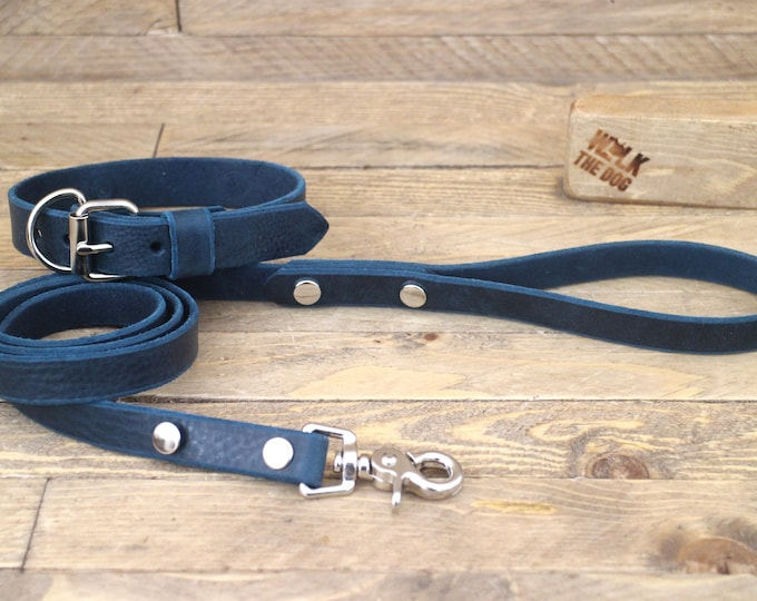 Leather dog collar, Collar, Leash, Set, FREE ID TAG, Deep ocean, Handmade leather collar, Silver hardware, Leather leash, Dog collar, Puppy.