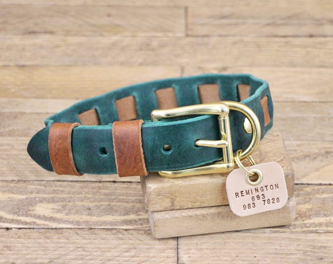 Leather collar, Unique collar, FREE ID TAG, Collar, Brass, Dog Gift, Handmade collar, Forest collar, Leather dog collar.