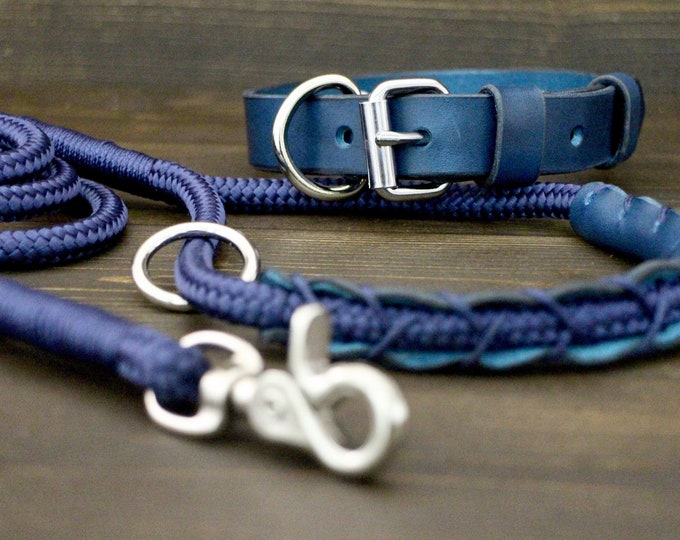 Collar and leash set, Blue dog collar, Dog leash, Silver hardware, FREE personalisation, Dog rope leash, Dog leather collar, Puppy collar