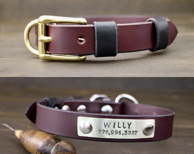 Collar, Dog collar, FREE personalisation, Brass-Silver hardware, Bordeaux collar, Two tone collar, Metal nameplate, Leather collar.