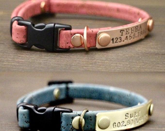 Cat - Breakaway cat collars - Cat cork collar - Breakaway/Non breakaway collar- Personalised cat collar - Pet collar - Cat Id nameplate