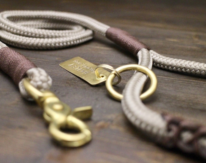 Dog leash, Rope leash, Brass-Silver hardware, Personalised leash, Grey sandy leash, 10ft leash, Chocolate brown leather handle