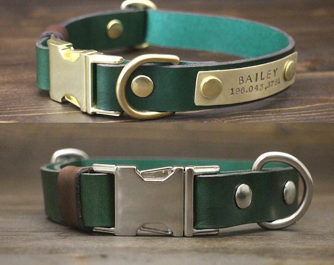 Dog collar, Quick release collar, FREE personalisation, Brass-Silver hardware, Handmade leather collar, Green collar