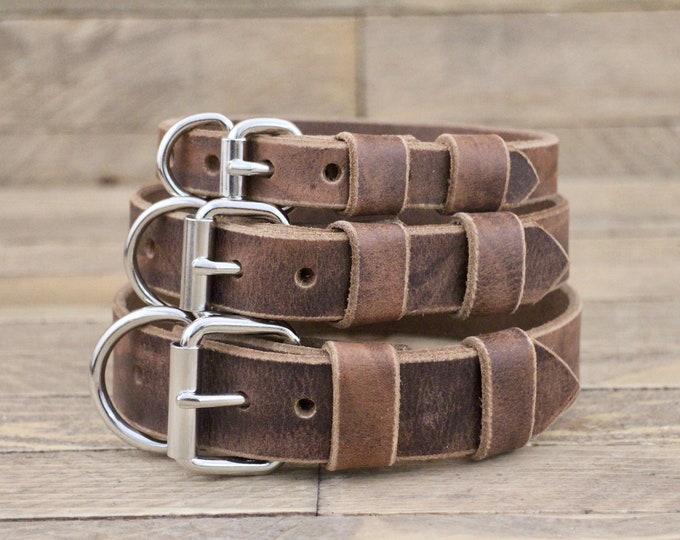 Collar, Classic collar, Leather collar, Dark coffee colour dog collar, Handmade collar, Dog collar, Minimal collar, Sturdy collar.