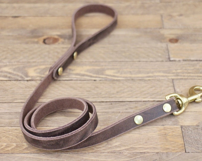 Leather lead, Brass hardware, Dog leash, Silver Cherry brown, Handmade leather leash, Dog gift, Puppy, Simple leash, Leash, Pet gift.